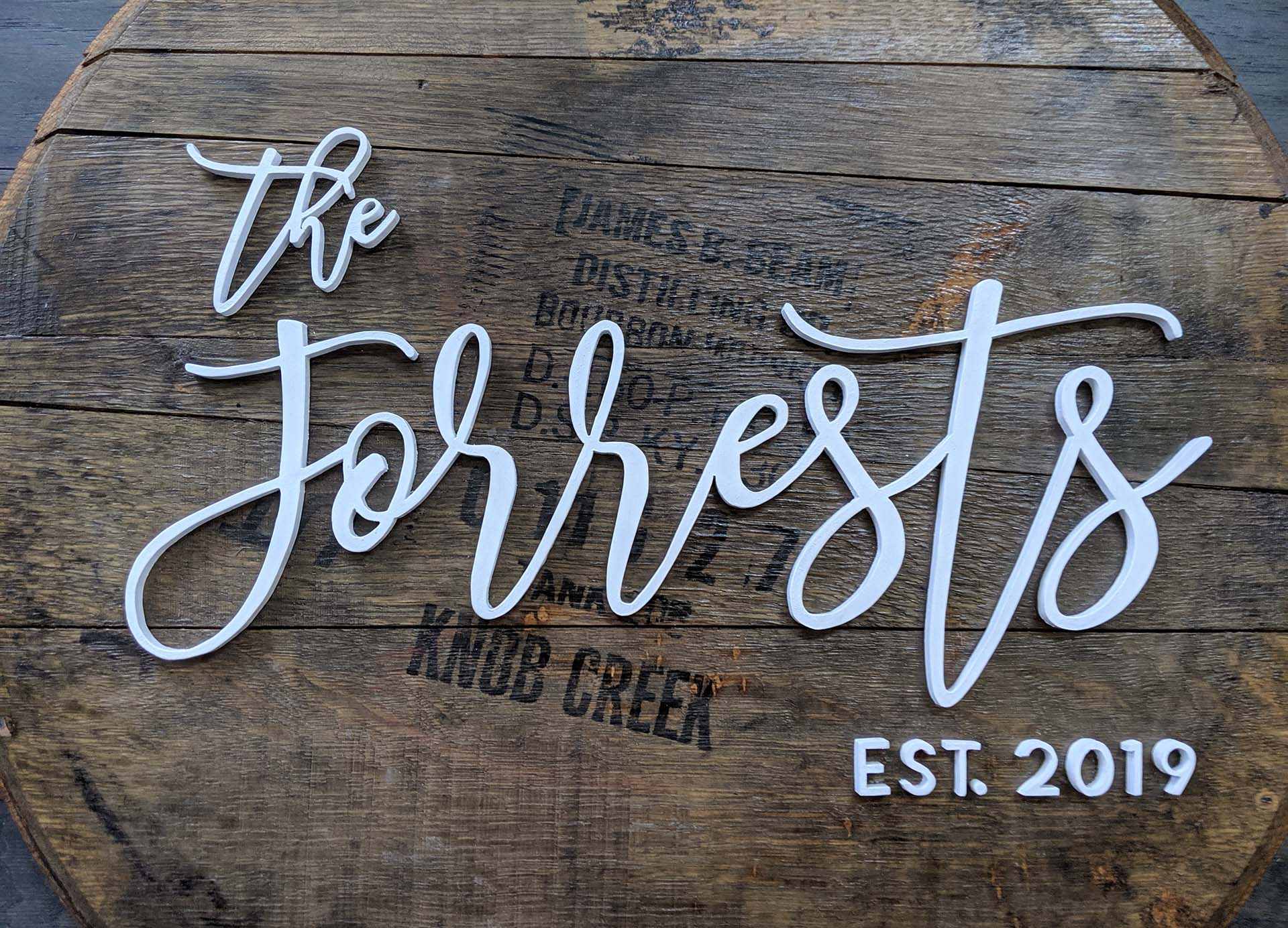 Forrest Bourbon Barrel Head Name Sign - Made By Jay Lane